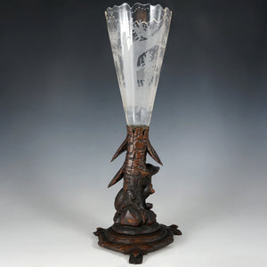 Antique Black Forest Hand Carved Wood Figural Dog Epergne Trumpet Vase Bohemian Hunting Theme Engraved Intaglio Glass