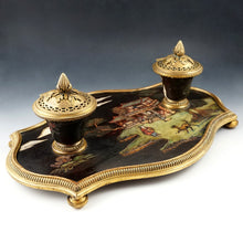 Load image into Gallery viewer, Antique French Chinoiserie Coromandel Lacquer Gilt Bronze Inkwell
