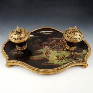 Antique French Chinoiserie Coromandel Lacquer Gilt Bronze Inkwell