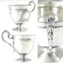 Load image into Gallery viewer, Superb Antique French Sterling Silver Tea Coffee Cup & Saucer Set, Applied Decoration, 201.7g