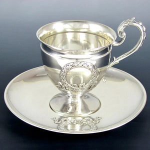 Superb Antique French Sterling Silver Tea Coffee Cup & Saucer Set, Applied Decoration, 201.7g