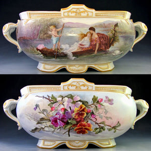 LARGE ANTIQUE FRENCH PORCELAIN JARDINIERE HAND PAINTED ROMANTIC SCENE DATED 1906