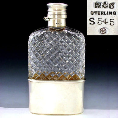 Antique GORHAM Sterling Silver Liquor / Whisky Hip Flask, Twist & Lock Lid, 1888