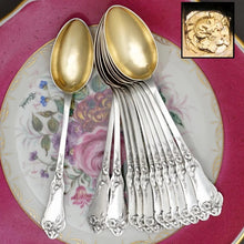 Load image into Gallery viewer, 12 Antique French Sterling Silver Teaspoons, Coffee Tea Moka Spoons Set, Art Nouveau Morning Glory Flowers, Boxed