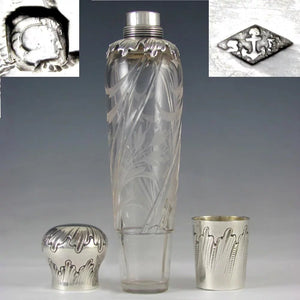 Ornate Antique Art Nouveau French Sterling Silver Liquor Flask, Cut Crystal Engraved Floral Intaglios, by Saglier Freres