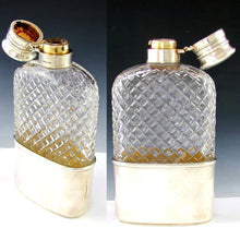 Load image into Gallery viewer, Antique GORHAM Sterling Silver Liquor / Whisky Hip Flask, Twist & Lock Lid, 1888