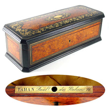 Load image into Gallery viewer, Antique French TAHAN Burl Wood Brass Inlaid Jewelry Box / Casket