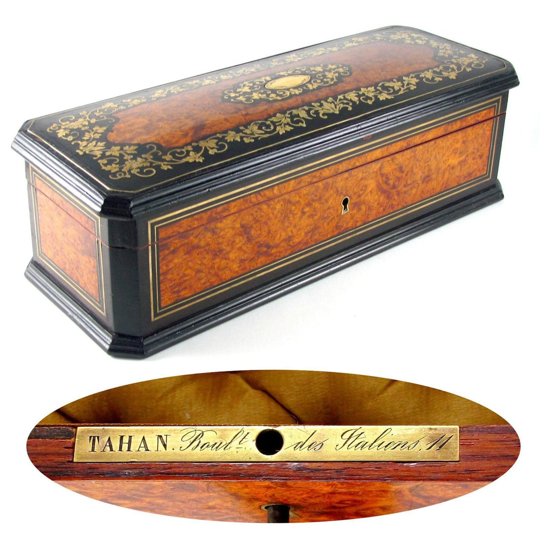 Antique French TAHAN Burl Wood Brass Inlaid Jewelry Box / Casket