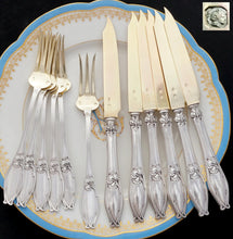 Load image into Gallery viewer, Antique French sterling silver dessert cake flatware set