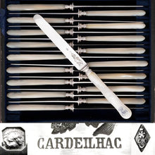 Load image into Gallery viewer, CARDEILHAC : Antique French Sterling Silver & Mother of Pearl Dessert Knives, 18pc Knife Set