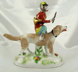 Rare French Porcelain Monkey Band Riding a Dog Figurine