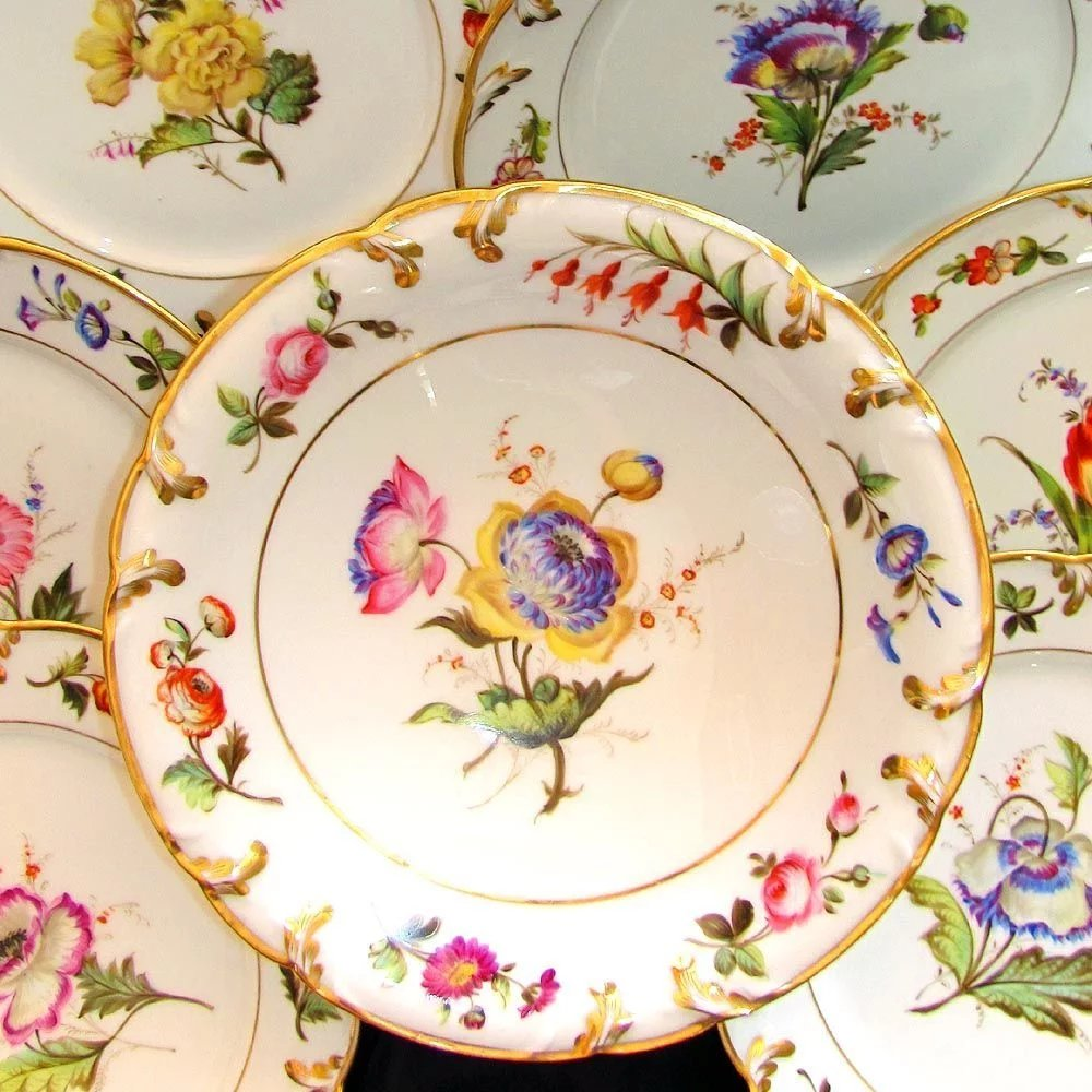 Antique French porcelain dessert set by Pillivuyt