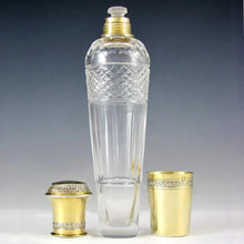 Load image into Gallery viewer, Antique French Sterling Silver Gilt Vermeil Cut Crystal Whiskey Liquor Flask, Lagriffoul & Laval