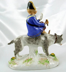 Rare French Porcelaine de Paris Circus Monkey Riding a Dog Figurine