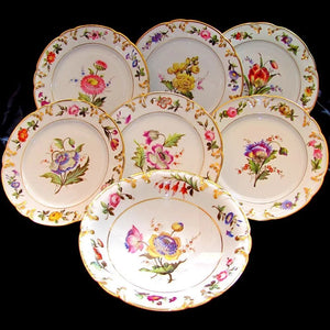 Antique French Paris Porcelain dessert plates, hand painted flowers