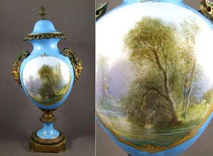 Antique 19th Century French Sevres Porcelain & Ormolu Lidded Urn