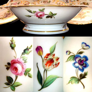 Antique French Pillivuyt Porcelain Hand Painted Flowers Dessert Set