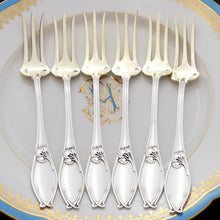 Load image into Gallery viewer, Antique 12pc Art Nouveau French Sterling Silver Dessert Flatware Set