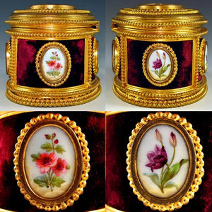 Antique French Signed TAHAN Gilt Bronze & Hand Painted Porcelain Jewelry Casket / Box