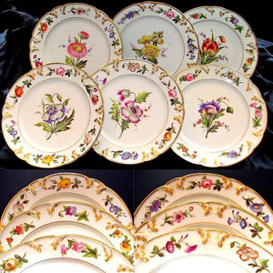 Porcelaine de Paris hand painted plates, flowers