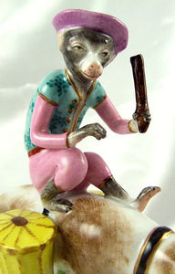 French Porcelaine De Paris Circus Monkey & Dog Figurine