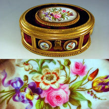 Load image into Gallery viewer, Antique French Signed TAHAN Gilt Bronze & Hand Painted Porcelain Jewelry Casket / Box