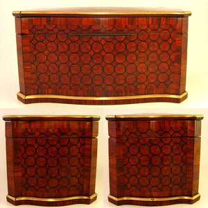 Antique French TAHAN Paris Kingwood Parquetry Inlay Tea Caddy Box