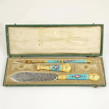 Load image into Gallery viewer, Antique French Blue Enamel Gilt Ormolu Writing Desk Set, Wax Seal