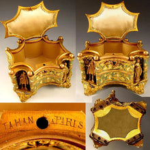 Load image into Gallery viewer, Antique French TAHAN PARIS Gilt Bronze Enamel Jewelry Casket Box, Figural