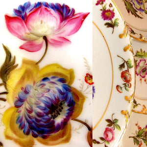 Flowers hand painted on antique French Paris porcelain plates