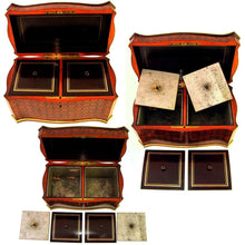 Load image into Gallery viewer, Antique French wood tea caddy box