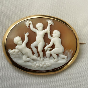 antique victorian French 18k gold carved shell cameo brooch cherubs