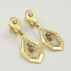 Art Deco French 18k Yellow Gold Lever Back Dangle Earrings