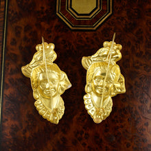 Load image into Gallery viewer, French 18K Yellow Gold Figural Dangle Earrings, Woman Portrait