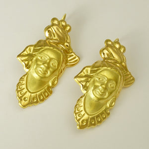 French 18K Yellow Gold Figural Dangle Earrings, Woman Portrait