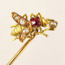 Antique Victorian French 18K Gold Diamond & Ruby Figural Bee Stickpin Pin Brooch