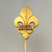 Load image into Gallery viewer, Antique French Victorian 18K Gold Diamond Fleur De Lis / Lys Stickpin Pin Brooch