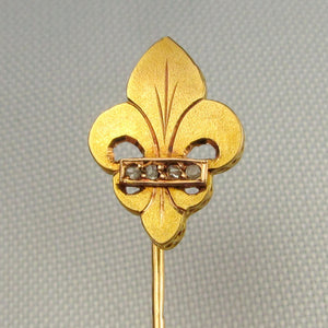 Antique French Victorian 18K Gold Diamond Fleur De Lis / Lys Stickpin Pin Brooch