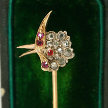 Load image into Gallery viewer, Antique Victorian French 18K Gold Diamond Ruby Parrot Bird Head Stick Pin Brooch