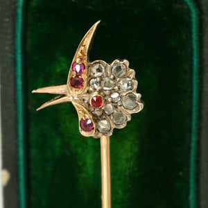 Antique Victorian French 18K Gold Diamond Ruby Parrot Bird Head Stick Pin Brooch