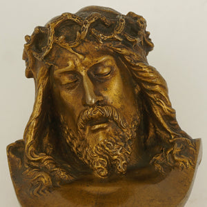 Antique French Solid Bronze Wax Seal, Bust of Jesus Christ, Desk Stamp