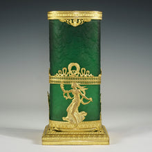 Load image into Gallery viewer, Legras acid etched cameo glass vase emerald green gilt bronze ormolu Napoleon III French
