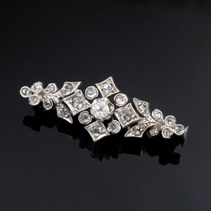 art deco palladium diamond brooch pin