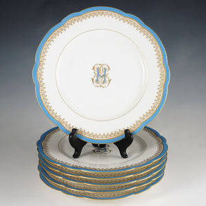 Set antique French Paris porcelain dessert plates
