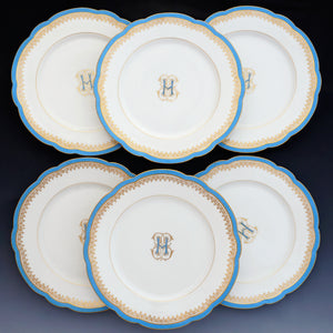 Set of 6 antique French Paris porcelain dessert plates