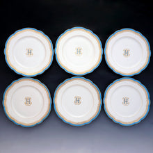 Load image into Gallery viewer, Antique French Old Paris Porcelain Plates Set of 6 Dessert or Luncheon