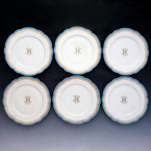 Antique French Old Paris Porcelain Plates Set of 6 Dessert or Luncheon