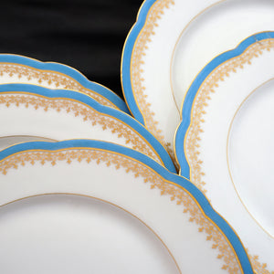 antique French porcelain de paris blue & gold plates