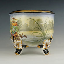 Load image into Gallery viewer, Large Antique French Porcelain Jardiniere, Hand Painted Scene, Birds, Herons / Egrets, Flowers