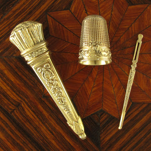 Antique French .800 Silver Gilt Vermeil Sewing Embroidery Set